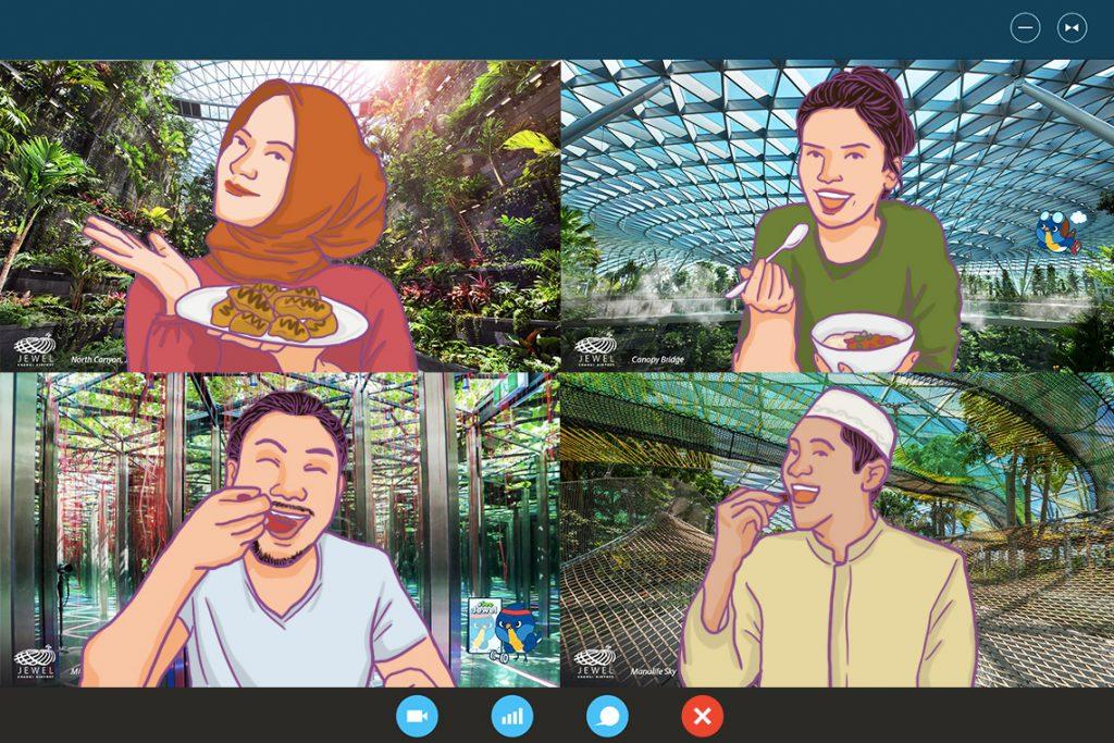 Gambar dari Bandara Changi sebagai background video conference untuk buka bersama virtual