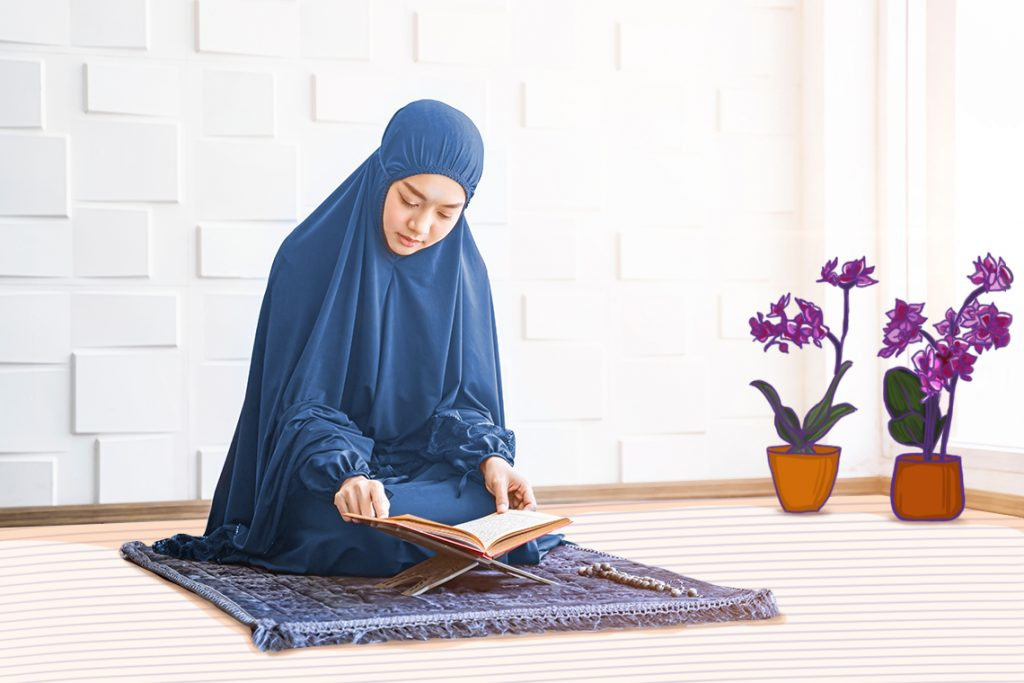 Tambahkan tanaman anggrek dan karpet agar ruang ibadah selama Ramadan terlihat nyaman