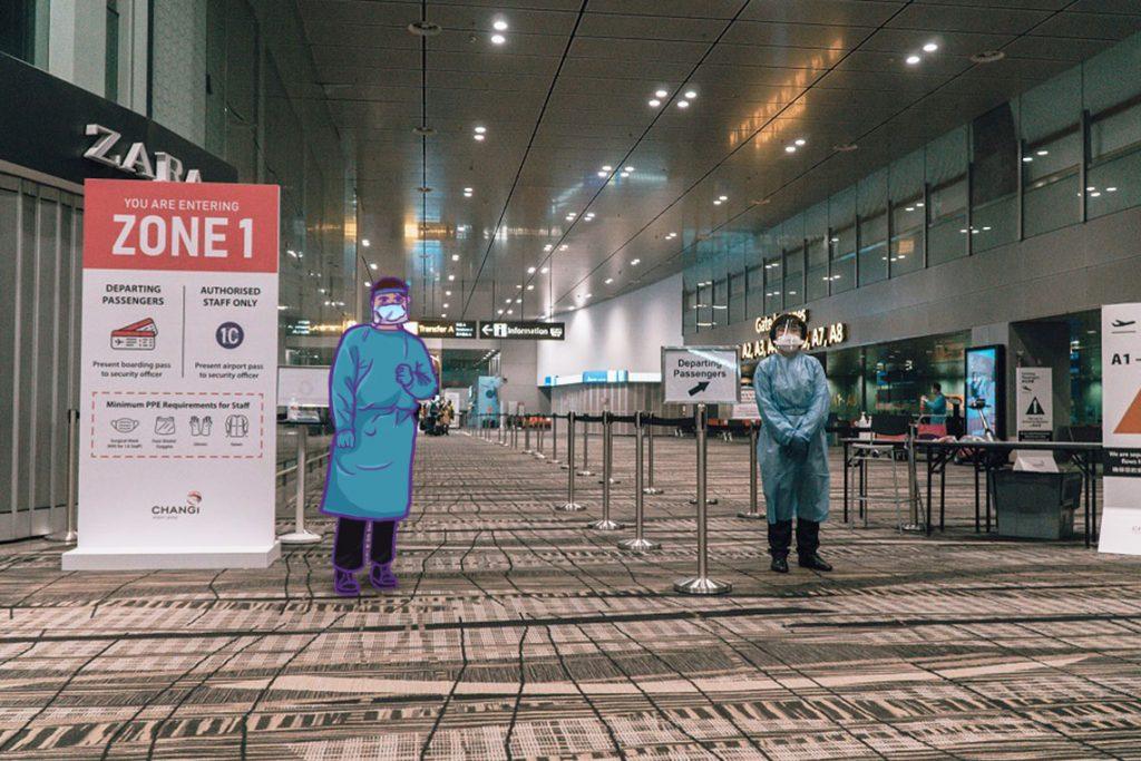 Jarak aman di Bandara Changi